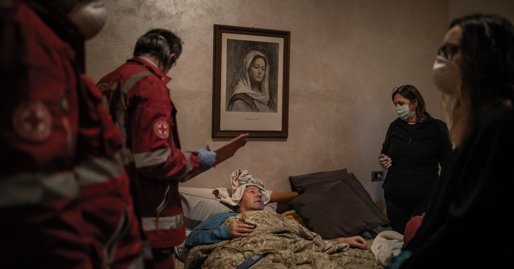 Once known as a quiet and wealthy province, Bergamo is now a place where Red Cross workers go door to door, carrying away the afflicted, like Claudio Travelli.