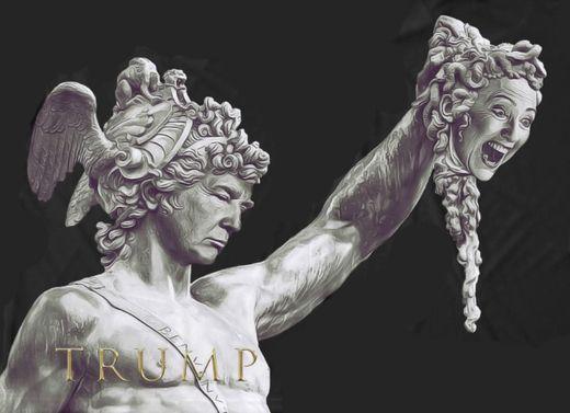 Donald Trump als Perseus hält den abgeschlagenen Kopf von Hillary Clinton