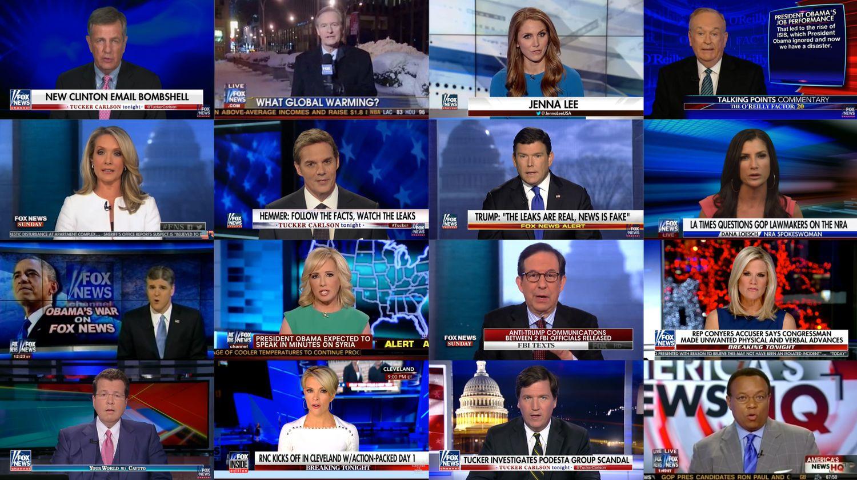 viele Screenshots von Fox Moderatoren zusammengesetzt zu einem Bild