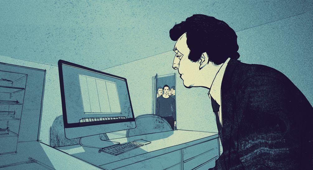 Illustration. 3 Männer schauen zur Tür herein, Talheimer sitzt an seinem Computer