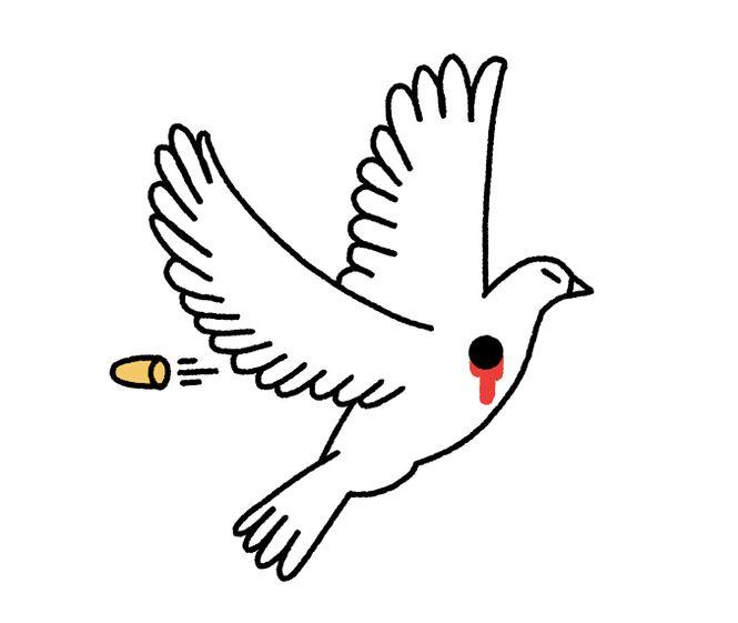 Illustration einer fliegenden Taube, die grad von einer Kugel durchbohrt wird