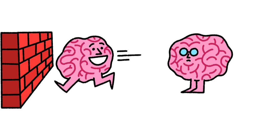 Illustration von zwei Hirnen, von denen das eine fröhlich lächelnd gegen eine Mauer läuft