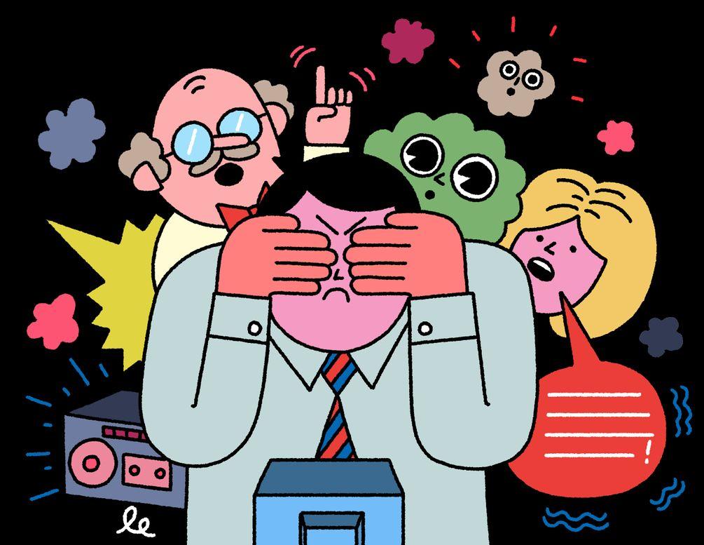 Illustration einer Gruppe von Menschen vor einem TV. Einer hält sich die Augen zu