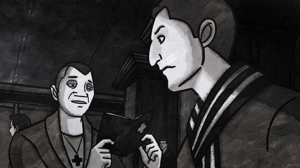Zeichnung aus dem Film zeigt Chico und Chris. Chico trägt ein Kreuz um den Hals und prüft Chris Schweizer Pass.