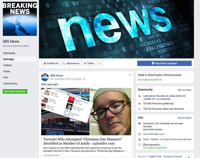 Schreeshot der Facebookseite von 365 News